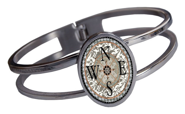 Compass Stainless Cuff Bracelet