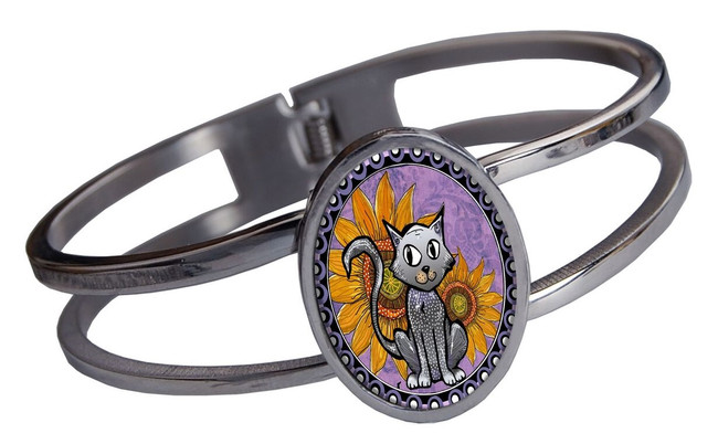 Purple Cat Stainless Cuff Bracelet