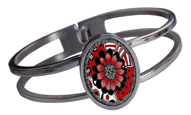 Red Flower Stainless Cuff Bracelet
