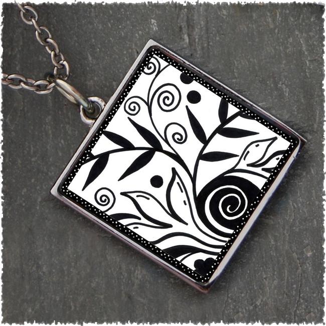 Leaf Black & White Square Reversible Pendant