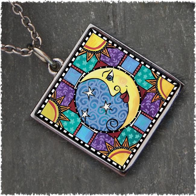 Moon & Stars Square Reversible Pendant