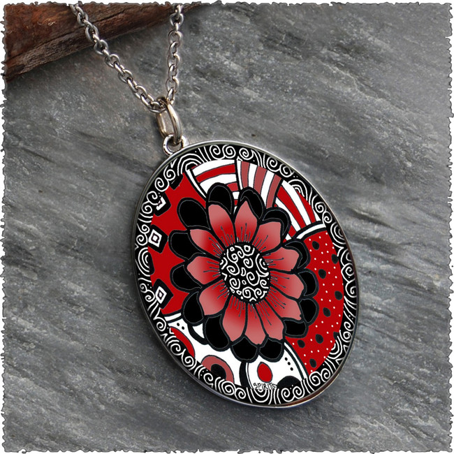 Black White Red Flower Reversible Silver Oval Pendant