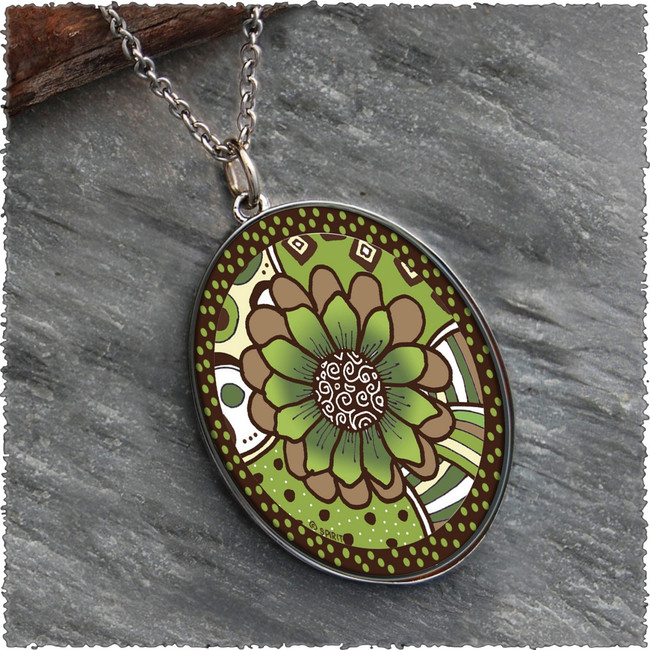 Green Brown Flower Reversible Silver Oval Pendants