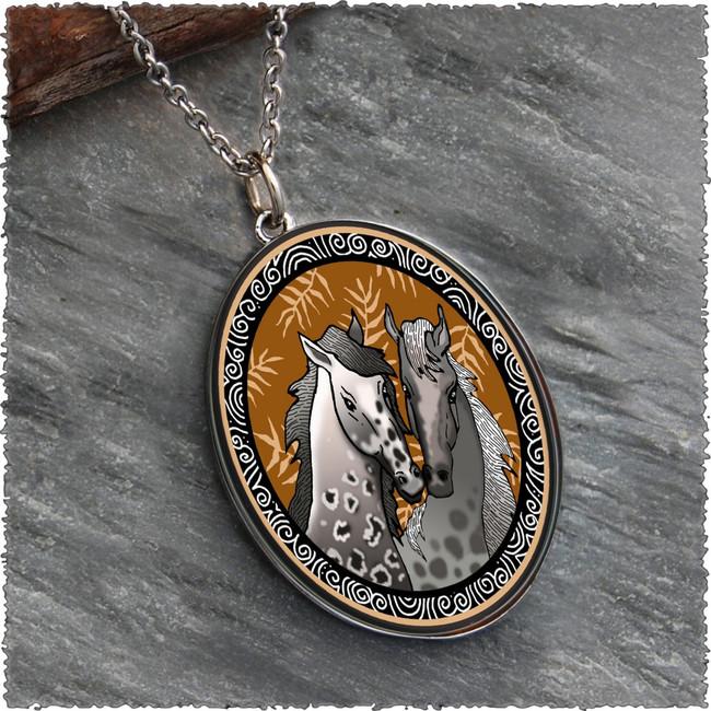 Horse Reversible Silver Oval Pendant