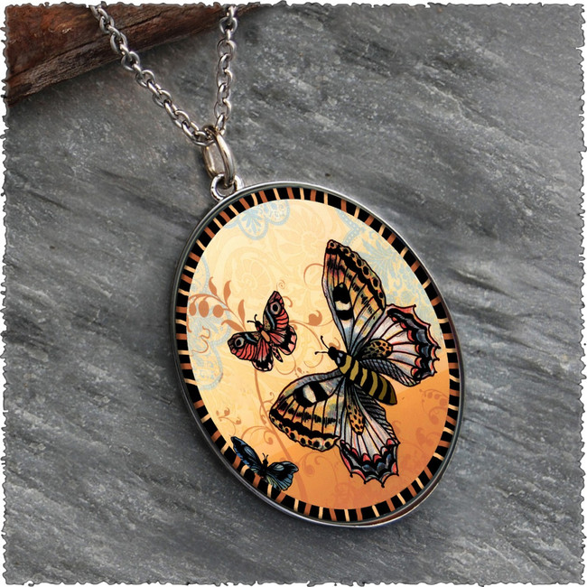 Orange Butterfly Reversible Silver Oval Pendant