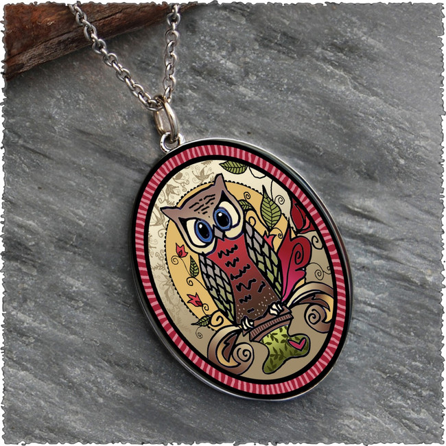 Owl Reversible Silver Oval Pendant