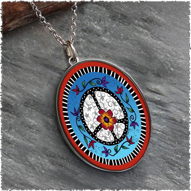 Peace Reversible Silver Oval Pendant