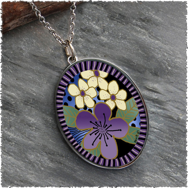 Purple Flower Reversible Silver Oval Pendant