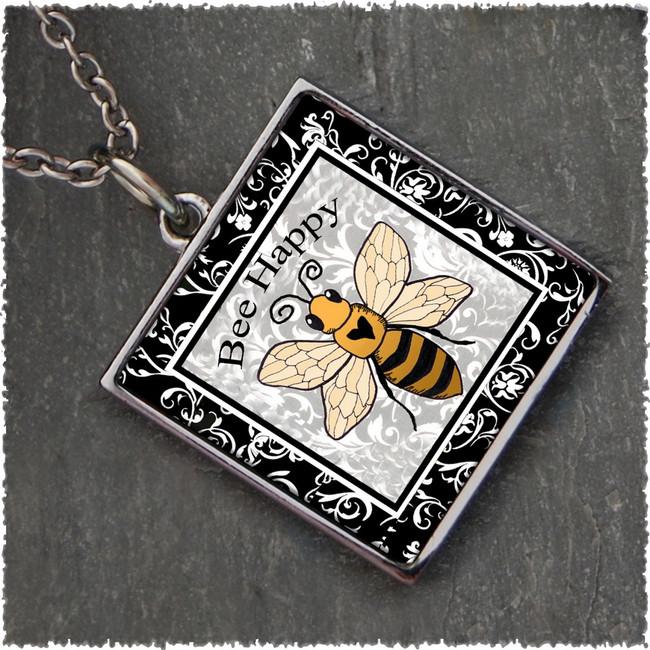 Bee Happy Reversible Square Pendant