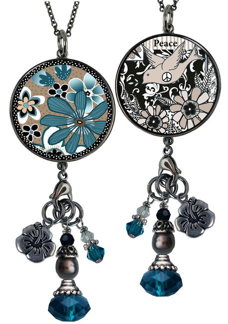 Teal Flower Reversible Circular Charm & Bead Pendant