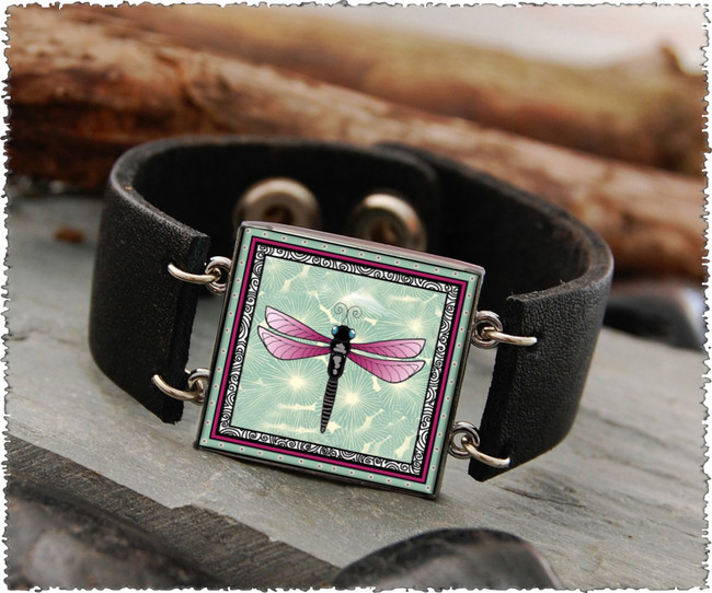 Green Dragonfly Double Sided Leather Cuff Bracelet