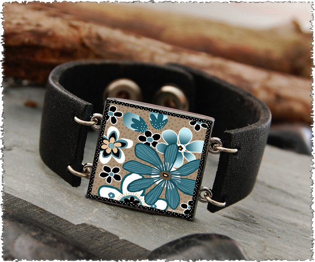 Teal Flower Double Sided Leather Cuff Bracelet