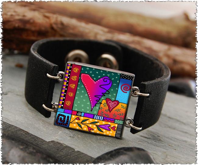 Wild Heart Double Sided Leather Cuff Bracelet