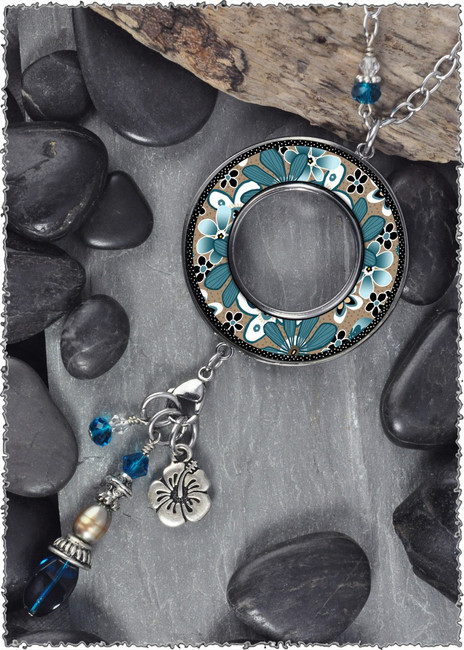 Teal Flower Reversible Beaded Open Circle Charm Pendants