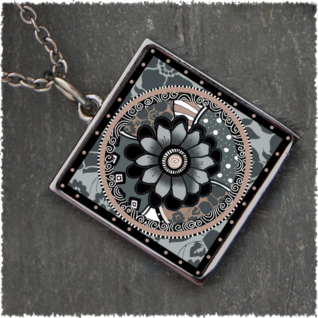 Grey Black Flower Reversible Square Pendant