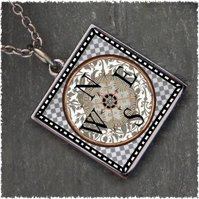 Compass Square Reversible Pendant