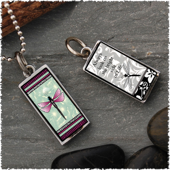 Green Dragonfly Reversible Rectangular Pendant