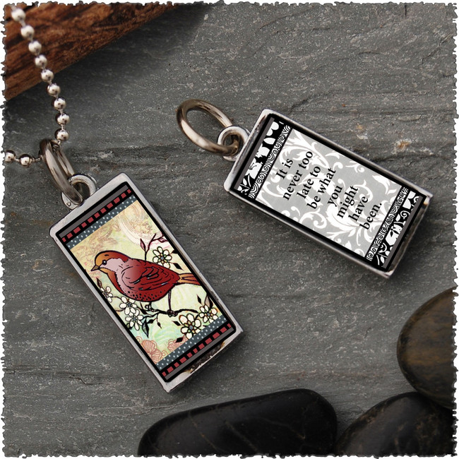 Red Bird Reversible Rectangular Pendant
