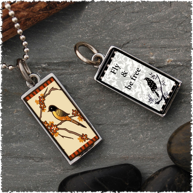 Robin Reversible Rectangular Pendant