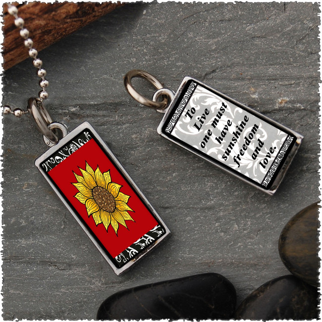 Sunflower Red Reversible Rectangular Pendant