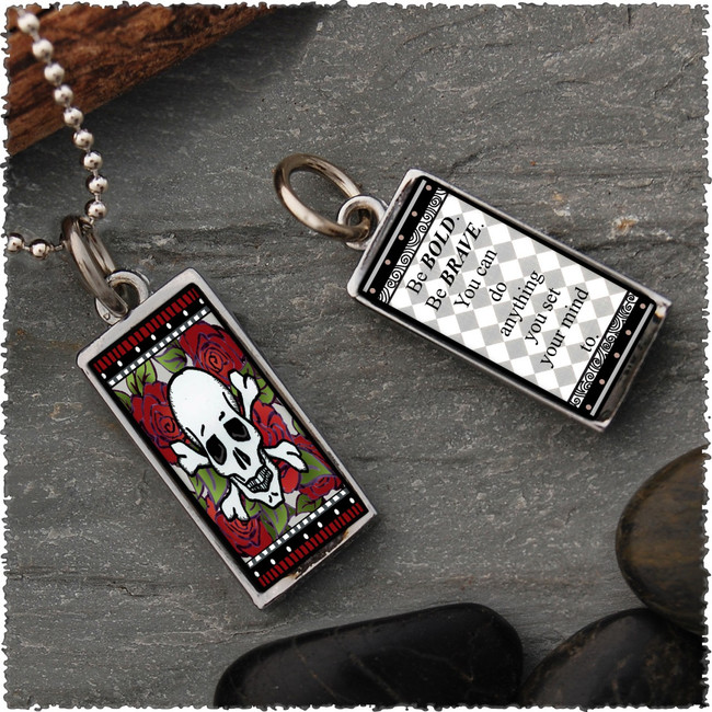 Skull Reversible Rectangular Pendant