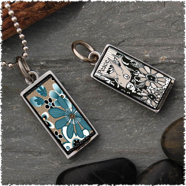 Teal Flower Reversible Rectangular Pendant