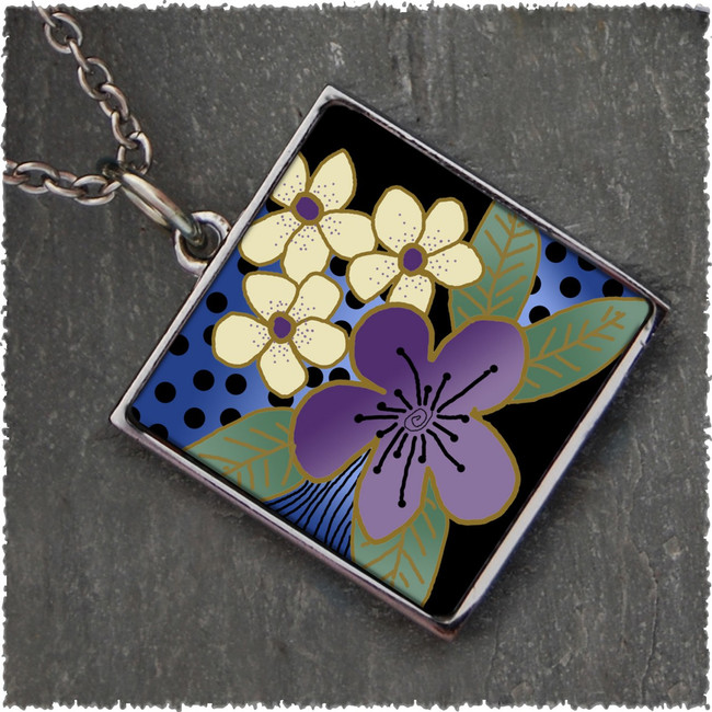 Purple Flower Reversible Square Pendant