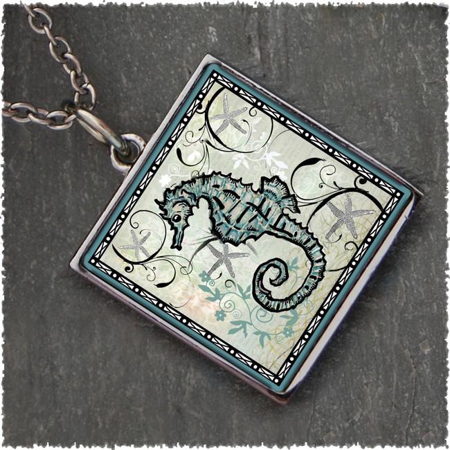 Seahorse Reversible Square Pendant