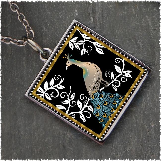 Peacock Black Reversible Square Pendant