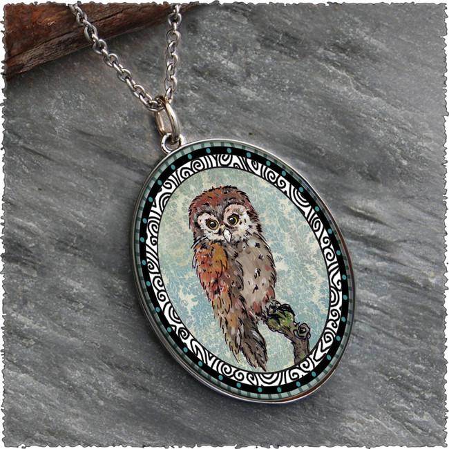 Owl Blue Reversible Silver Oval Pendant