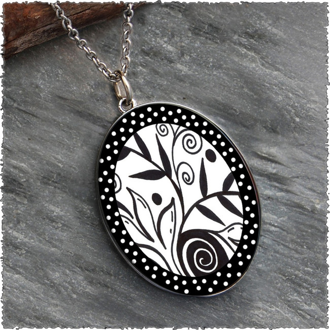 Leaf Flower Black White Reversible Silver Oval Pendant