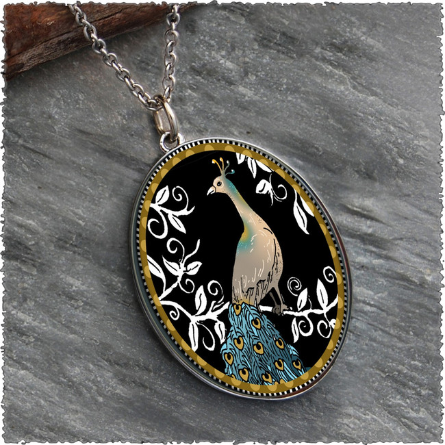 Peacock Black Reversible Silver Oval Pendant