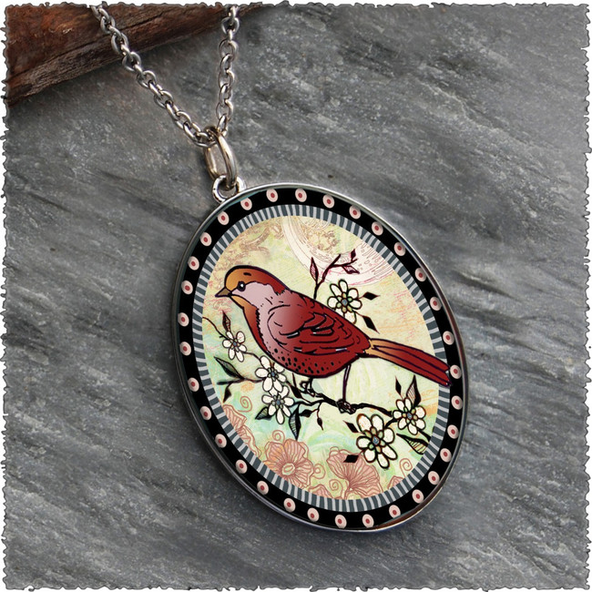 Red Bird Reversible Silver Oval Pendant