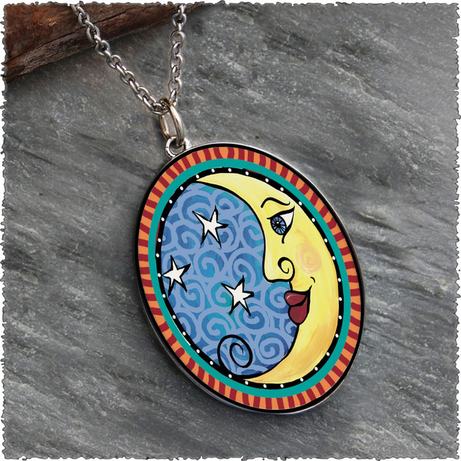 Moon Reversible Silver Oval Pendant