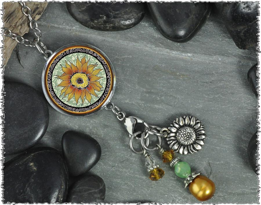 Sunflower Green Reversible Circular Charm & Bead Pendant