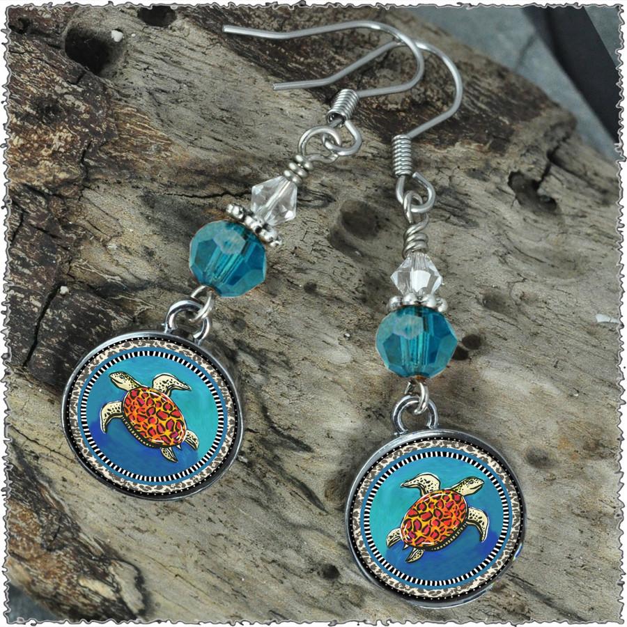 Blue Turtle Crystal Circular Earrings