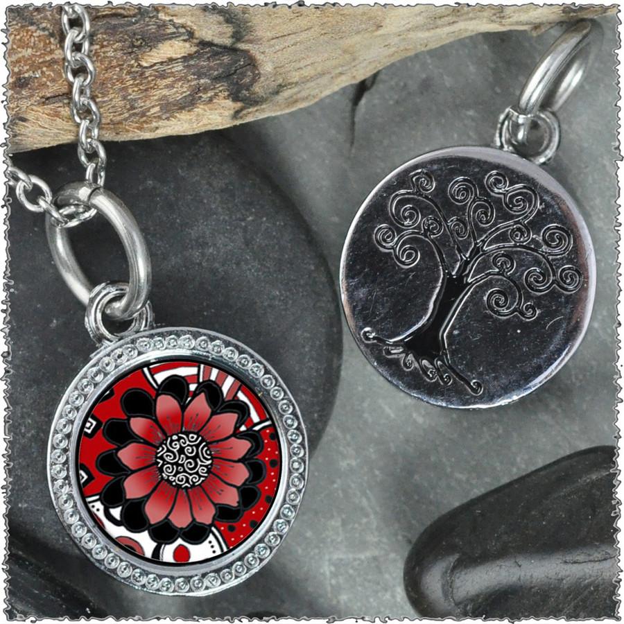 """Black White Red Flower """"Tree"""" Pendant"""