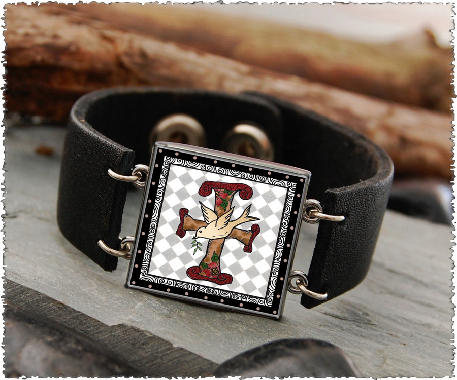 Faith Double Sided Leather Cuff Bracelet