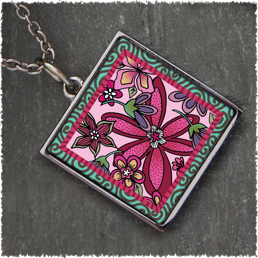 Pink Flower Reversible Square Pendant