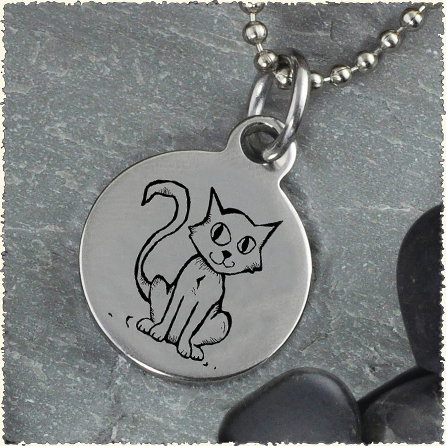 Cat Reversible Stainless Steel Pendant