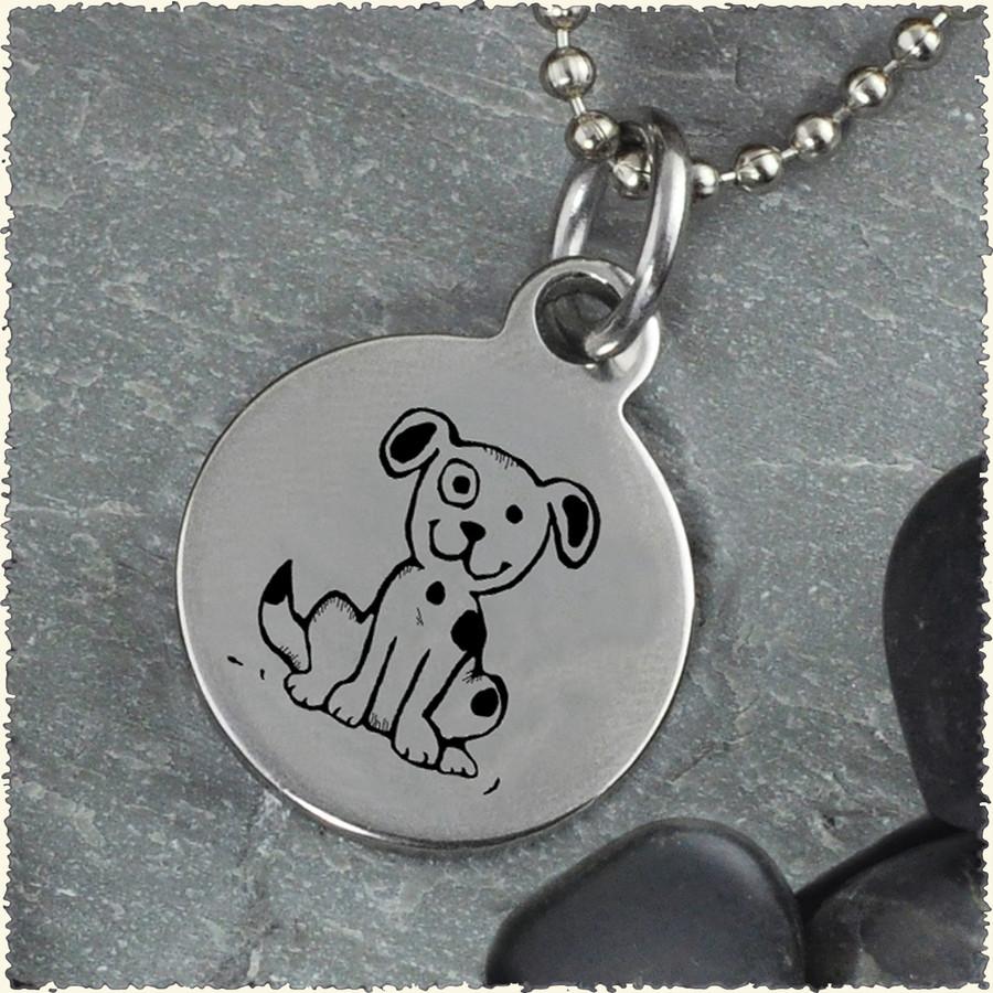 Dog Reversible Stainless Steel Pendant