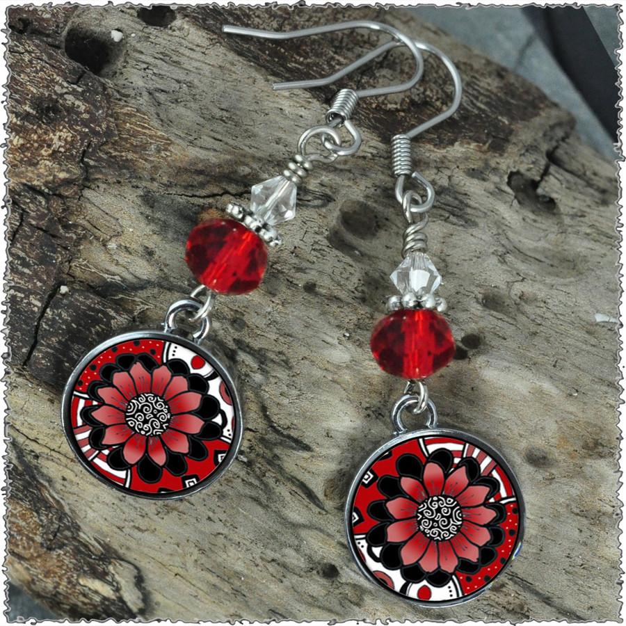 Black White Red Flower Crystal Circular Earrings