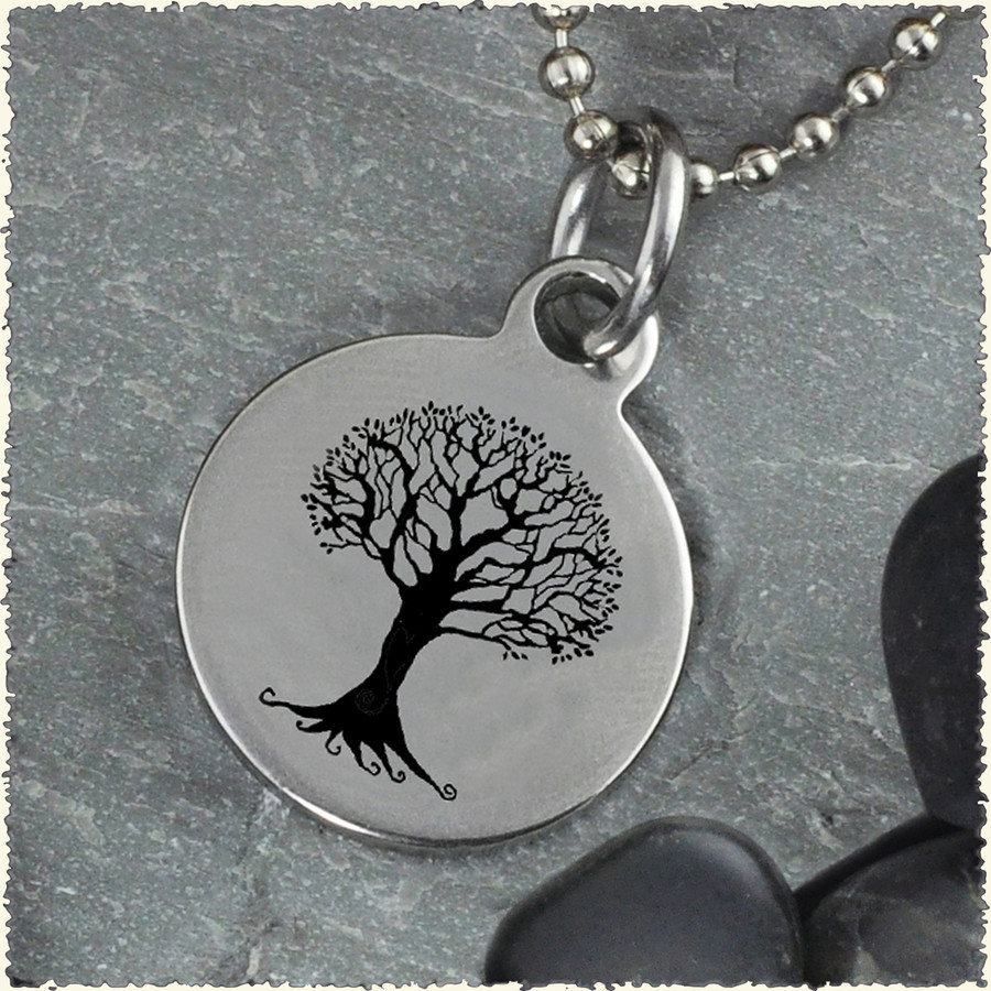 Tree Peace Reversible Stainless Steel Pendant