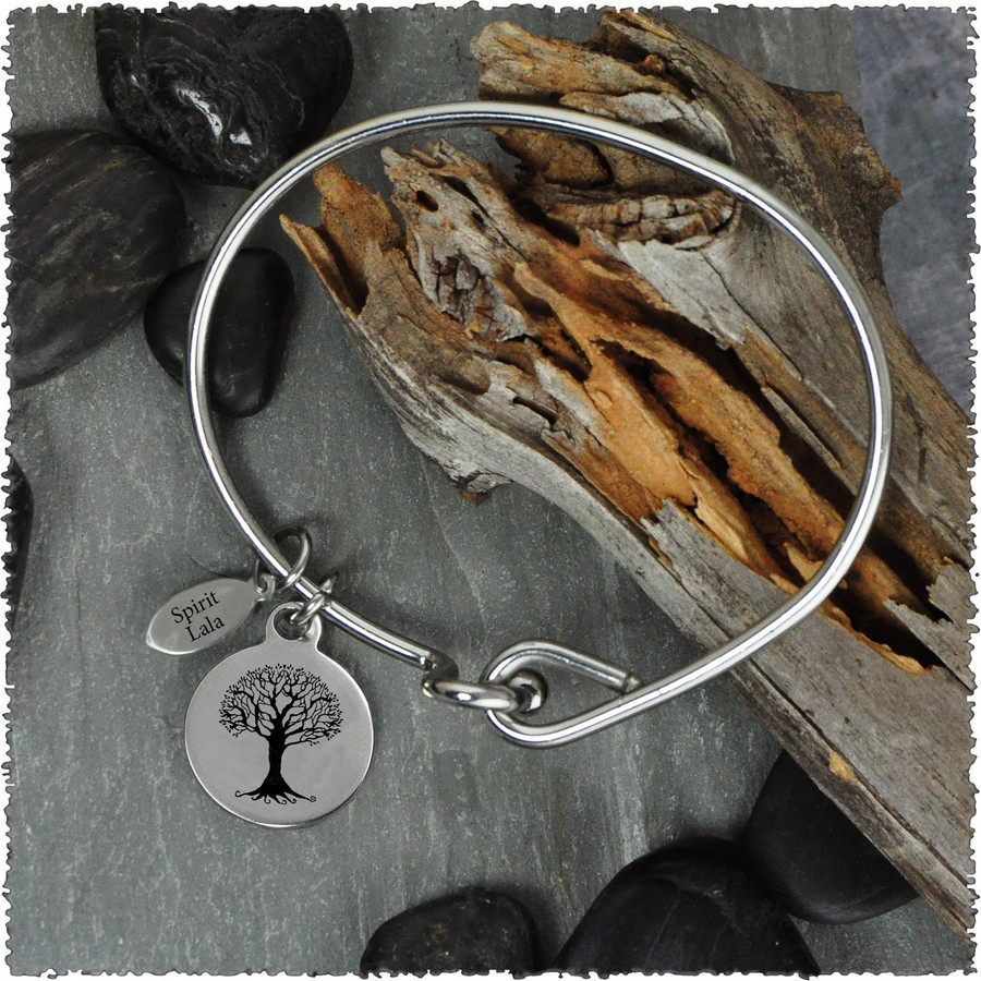 Tree of Life Peace Stainless Bangle with Reversible Charm