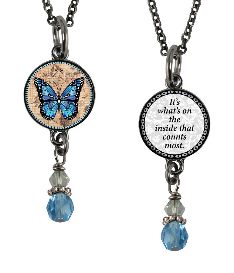 Monarch Blue Small Circular Reversible Beaded Pendant
