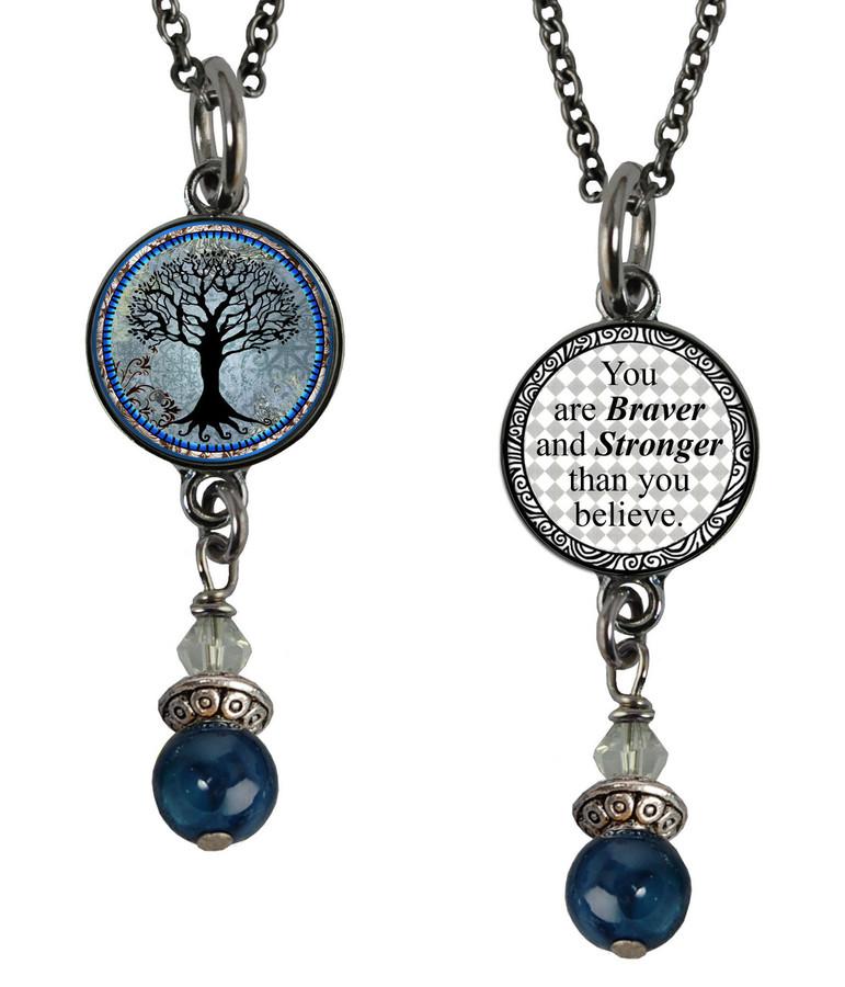 Tree of Life Dark Blue Small Circular Reversible Beaded Pendant
