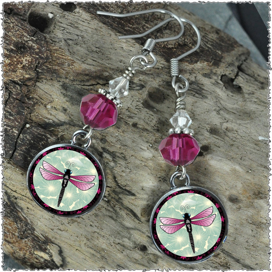 Green Dragonfly Crystal Circular Earrings