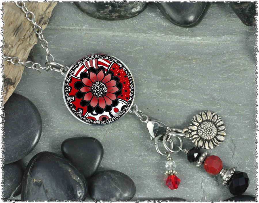 Black White Red Flower Reversible Circular Charm and Bead Pendant