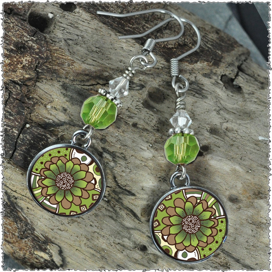 Green Brown Flower Crystal Circular Earrings