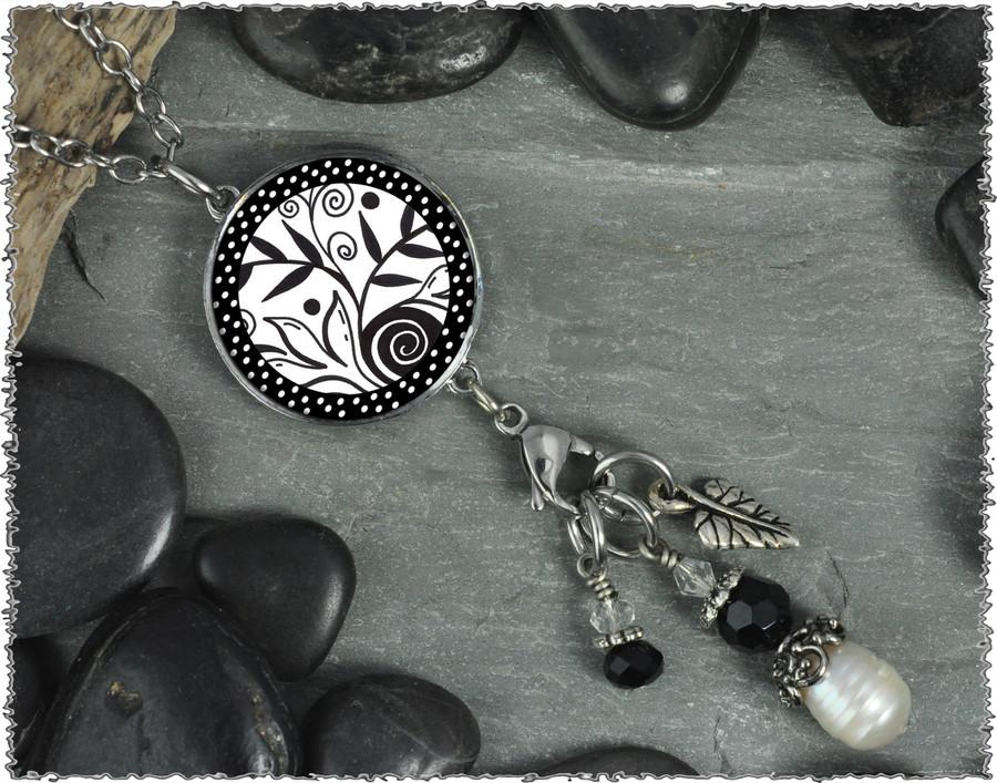 Leaf Flower Black White Reversible Circular Charm and Bead Pendant